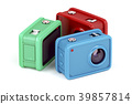 Three action cameras on white 39857814