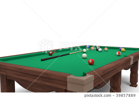 3d rendering of an isolated billiard table in side 39857889