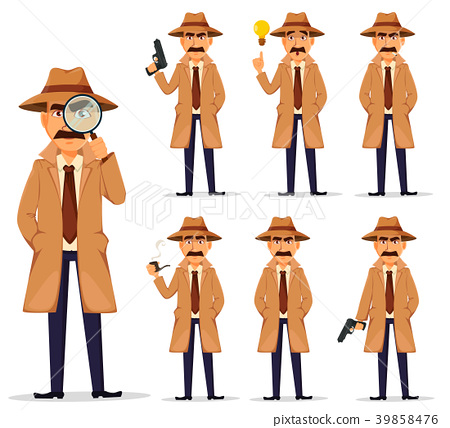 Detective in hat and coat, set. 39858476