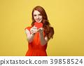 Portrait of happy romantic young caucasian girl 39858524