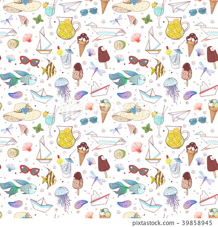 Seamless pattern with summer doodle sketch 39858945