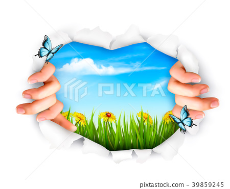 Nature background with hands ripping a paper. 39859245