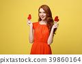 Portrait of happy romantic young caucasian girl 39860164