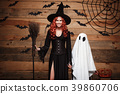Halloween Concept - Witch mother and little white 39860706