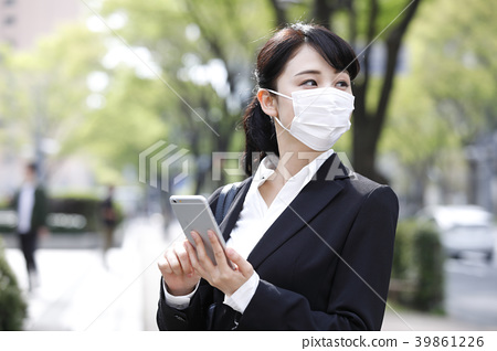 39861226 Woman Business Pixta Photo - Masked Stock