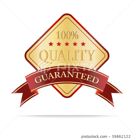 Luxury gold and red quality shields label 39862122