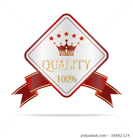Luxury silver and red quality shields label 39862124