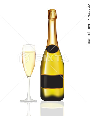 Champagne bottle and champagne glass on white 39862782