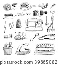 Set of hand drawn sewing and embroidery tools 39865082