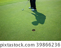 Man playing golf on a golf course. 39866236