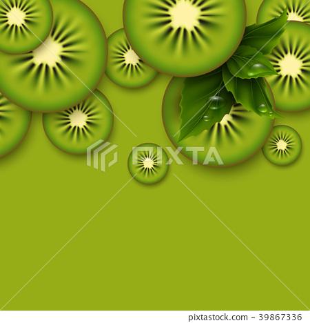 Kiwi green background. Sliced kiwi pieces. 39867336