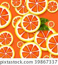 Grapefruit background. Sliced grapefruits pieces. 39867337