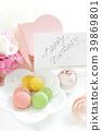 수제 마카롱과 필기 생일 카드 39869801