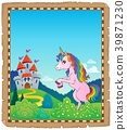 Parchment with standing unicorn theme 2 39871230