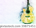 Abstract Acoustic Guitar on Watercolor painting. 39875451