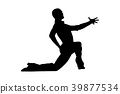 male dancer dance pose on his knee 39877534