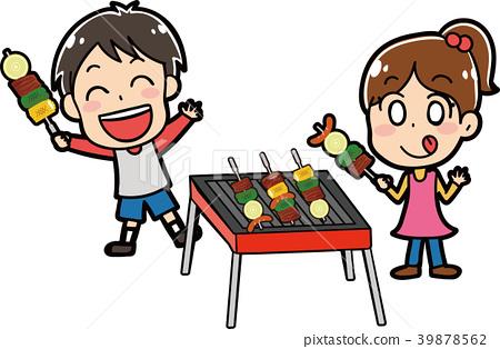 做烤肉的孩子例證材料 39878562