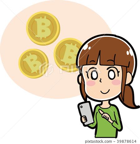 比特幣 成熟的女人 一個年輕成年女性 39878614