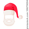 Santa Claus Hat with Beard and Moustaches Isolated 39879094