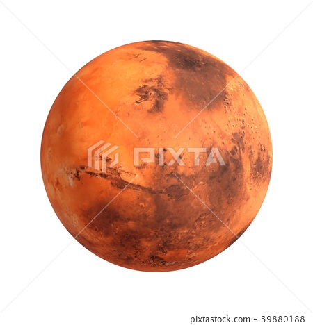 3D Rendering Planet Mars isolated on white 39880188