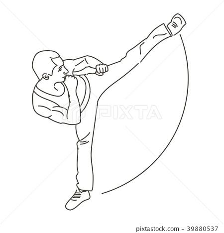 Silhouette of a karateka doing  side kick . 39880537