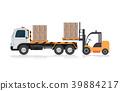 Forklift loading a truck . 39884217