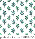 Seamless design with green watercolor plants on 39891655