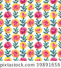 Bright floral seamless design with watercolor 39891656
