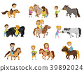 Funny little kids riding ponies and taking care of 39892024