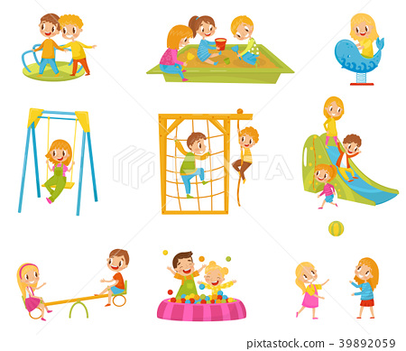 Happy kids playing outdoors set, children on a 39892059