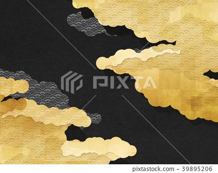 總和味道(雲,藍色波浪,重疊,黑色) 39895206