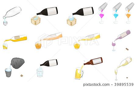 Sake illustration pouring set 39895539