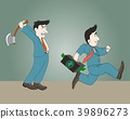 Businessman holding the axe and Businessman run 39896273