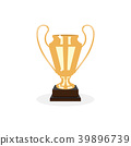 Trophy gold cup flat desing on a white background 39896739