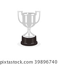 Trophy silver cup flat design on white background 39896740