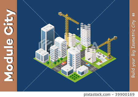 Module isometric city of houses 39900169