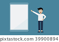 a man hand pointing on tablet, flat illustration 39900894