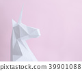 White paper unicorn on a pink background 39901088