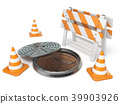 Manhole traffic cone and barrier 3D 39903926