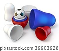 Opened Russian dolls and football 3D 39903928