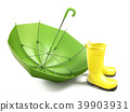 Pair of yellow rain boots and a green umbrella 3D 39903931