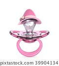 Pink baby pacifier with lady hat Baby GIRL 3D 39904134