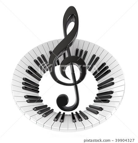 Treble clef in abstract piano keyboard 3D 39904327