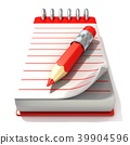 Red notepad and red pen, 3D 39904596