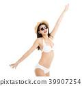 beautiful young woman in bikini isolated on white 39907254