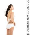 beautiful young woman in bikini isolated on white 39907255