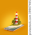 Unusual 3d illustration of a Lighthouse 39907465