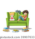 Two Children Reading Are Reading Books. 39907633