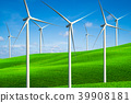Wind turbines farm on a green grass hills. 39908181