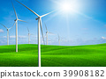 Wind turbines farm on a green grass hills. 39908182